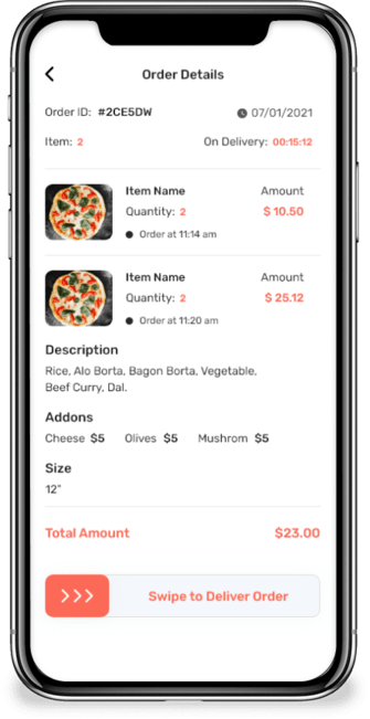 delivery app screen